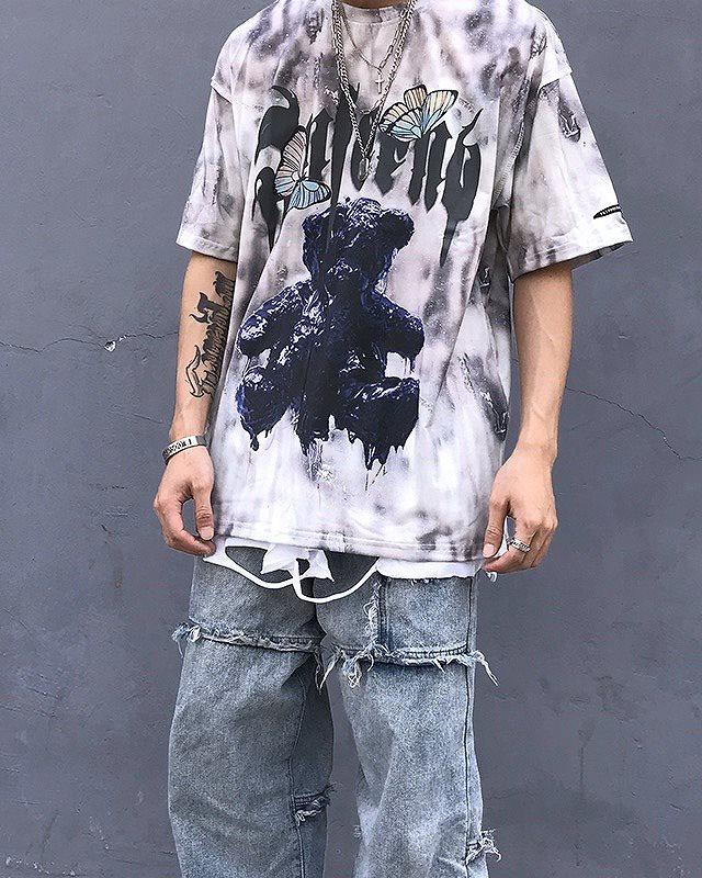 《2色》バタフライメルトクマタイダイTシャツの画像3